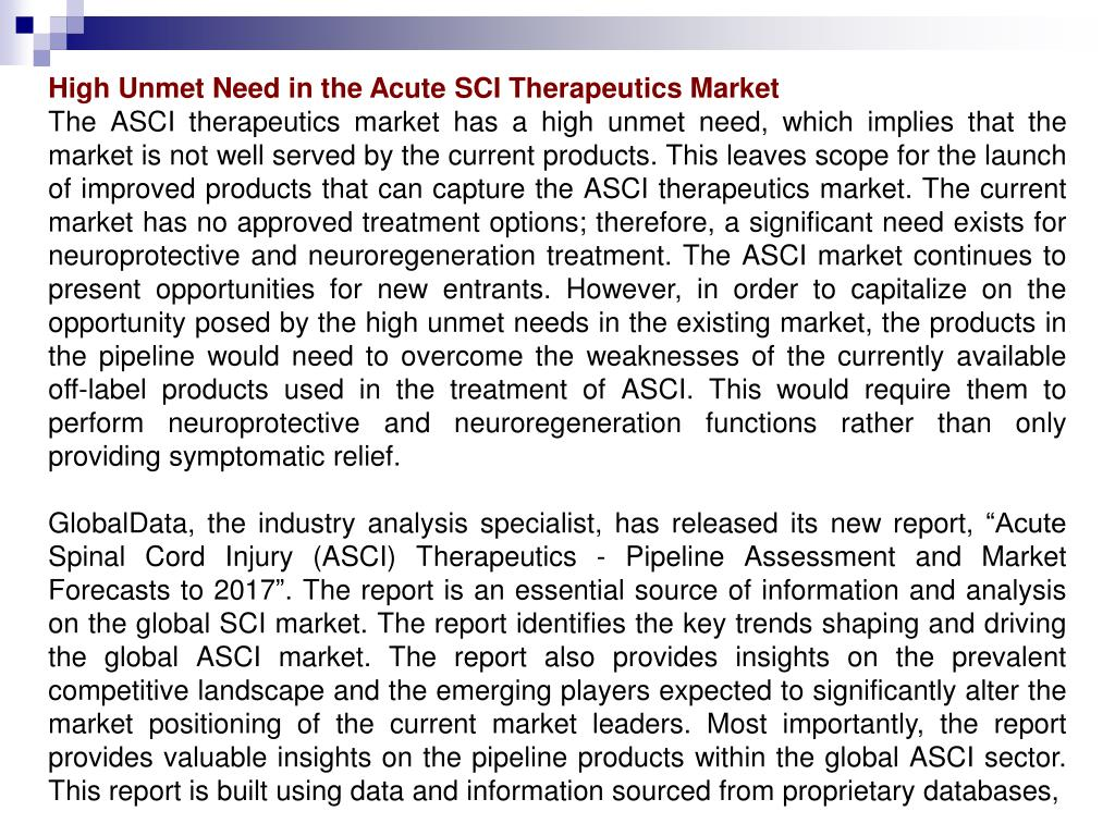 High Unmet Need in the Acute SCI Therapeutics Market