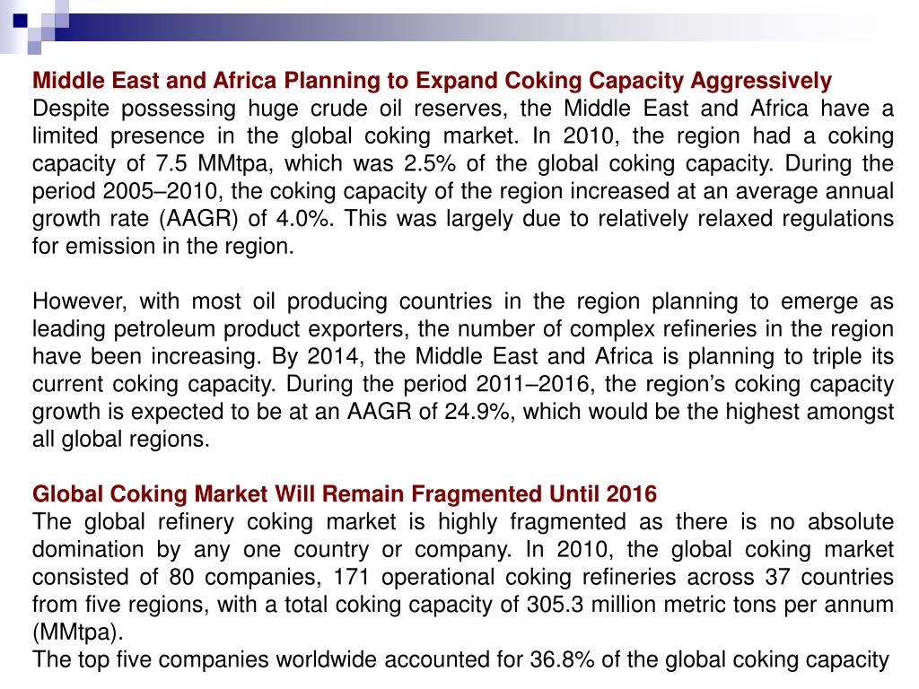 Middle East and Africa Planning to Expand Coking Capacity Aggressively