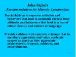 john ogbu s recommendations for minority communities