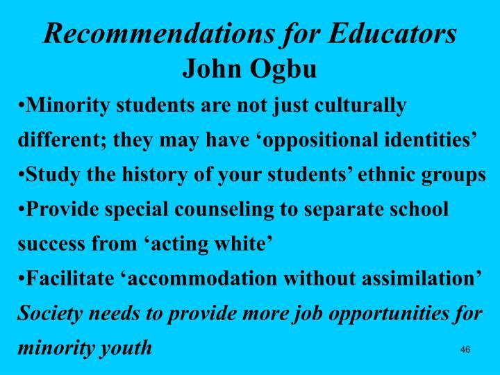 Recommendations for Educators