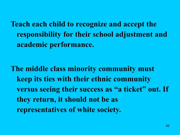 Teach each child to recognize and accept the responsibility for their school adjustment and academic performance.