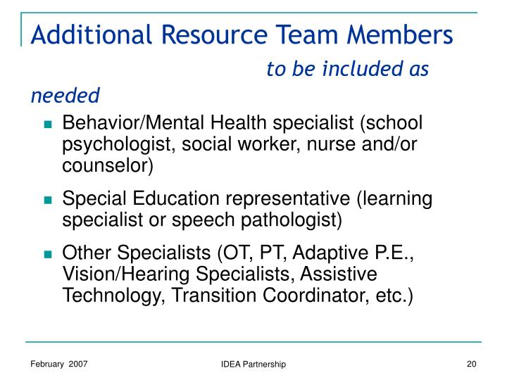 Additional Resource Team Members