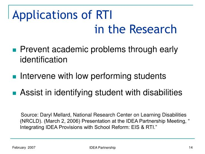 Applications of RTI in the Research