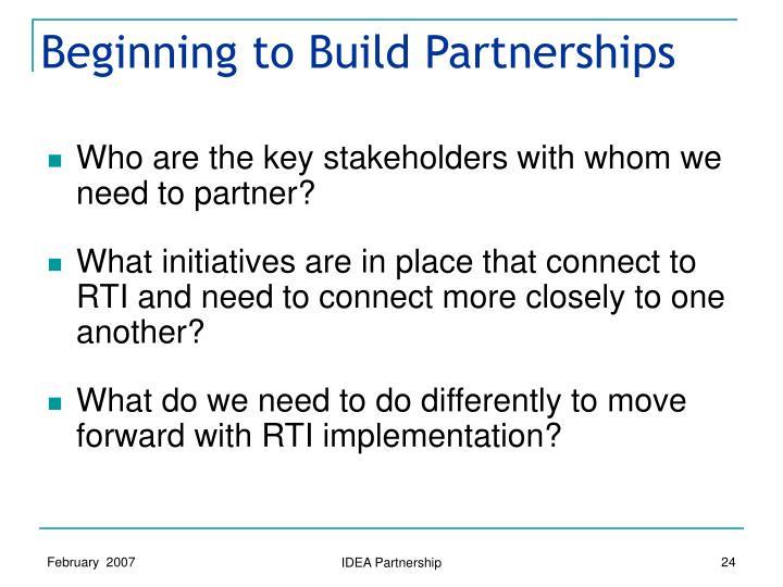 Beginning to Build Partnerships
