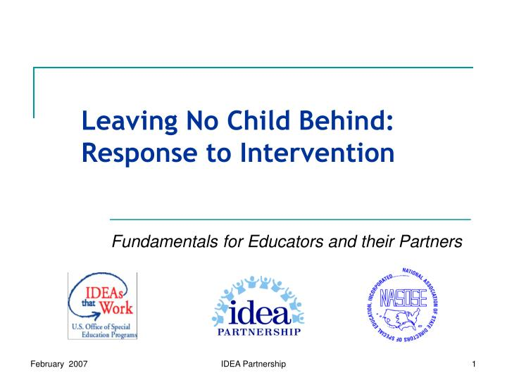 leaving no child behind response to intervention