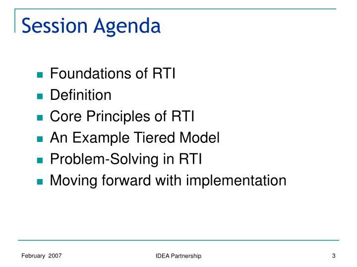 Session Agenda