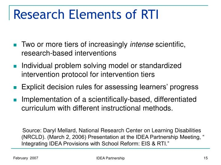Research Elements of RTI