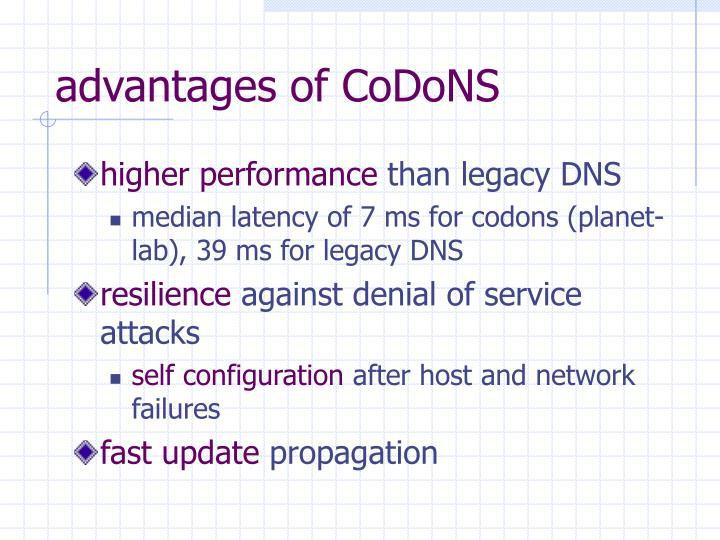 advantages of CoDoNS