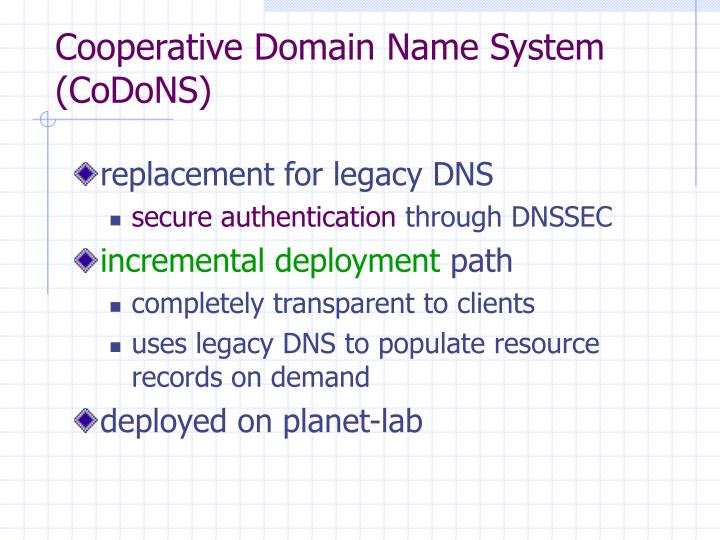Cooperative Domain Name System (CoDoNS)