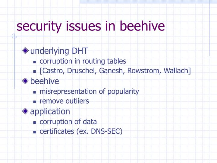 security issues in beehive