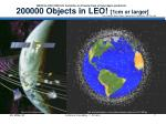 200000 objects in leo 1cm or larger