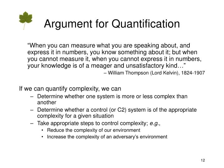Argument for Quantification