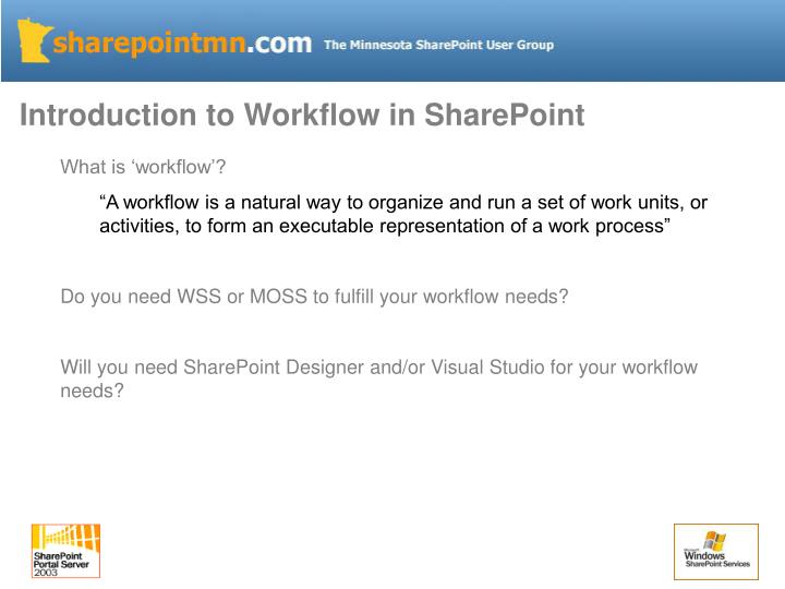 Introduction to Workflow in SharePoint