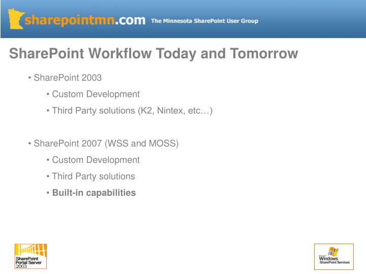SharePoint Workflow Today and Tomorrow