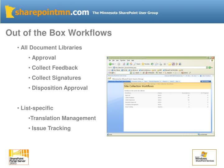 Out of the Box Workflows