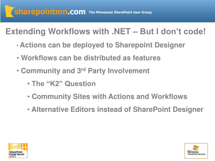 Extending Workflows with .NET – But I don't code!