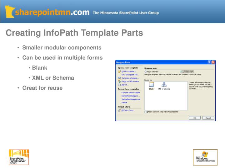 Creating InfoPath Template Parts