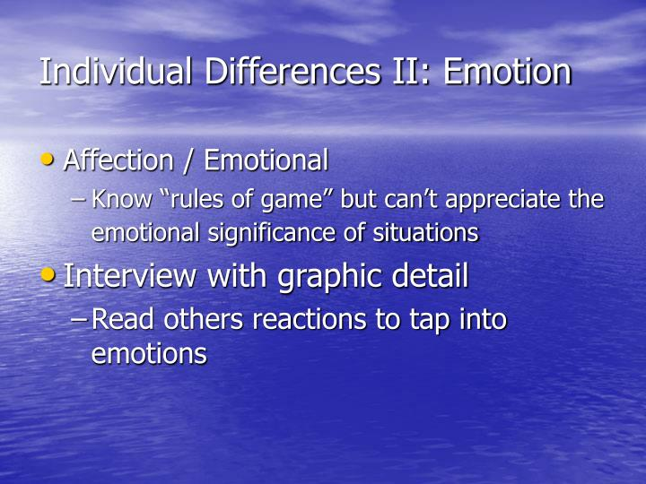 Individual Differences II: Emotion