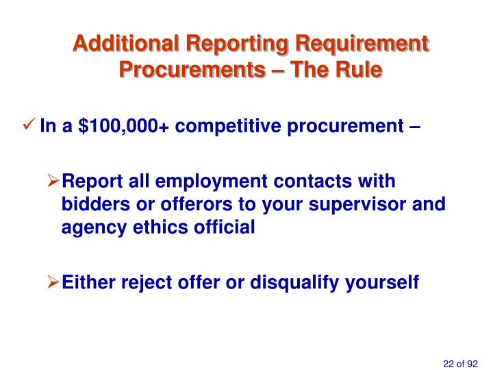 Additional Reporting Requirement