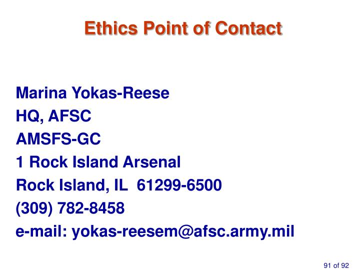 Ethics Point of Contact