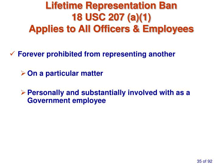 Lifetime Representation Ban