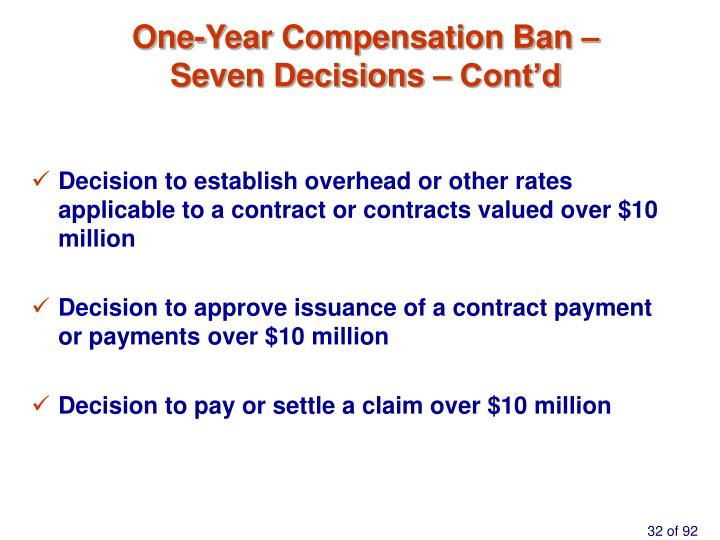 One-Year Compensation Ban –