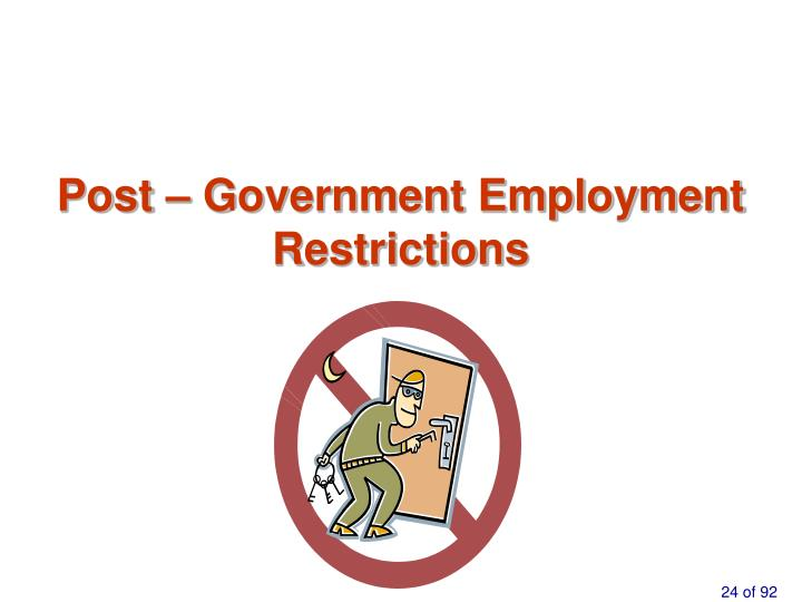 Post – Government Employment Restrictions
