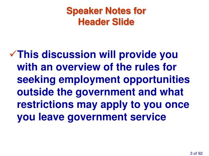 Speaker notes for header slide