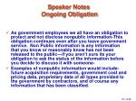 speaker notes ongoing obligation