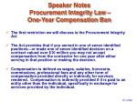 speaker notes procurement integrity law one year compensation ban