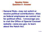 speaker notes question 9 answer