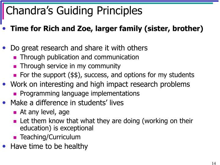 Chandra's Guiding Principles