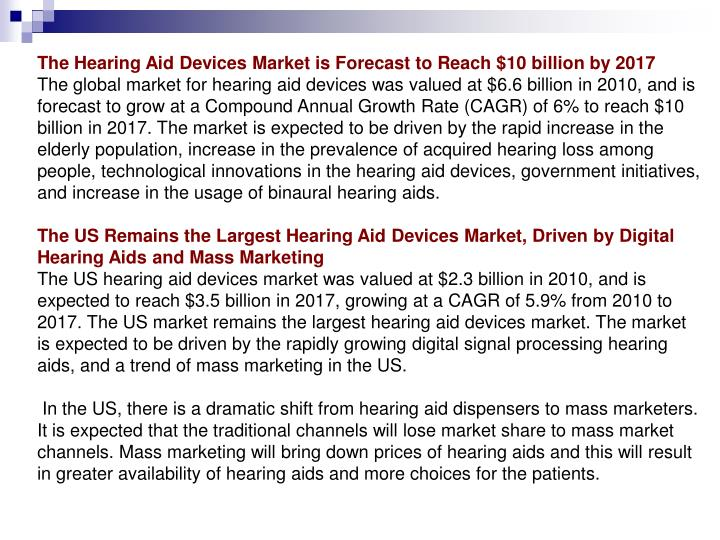 The Hearing Aid Devices Market is Forecast to Reach $10 billion by 2017