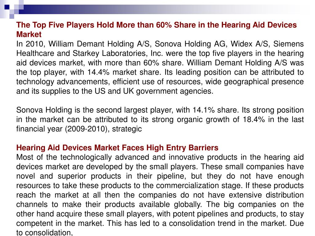 The Top Five Players Hold More than 60% Share in the Hearing Aid Devices