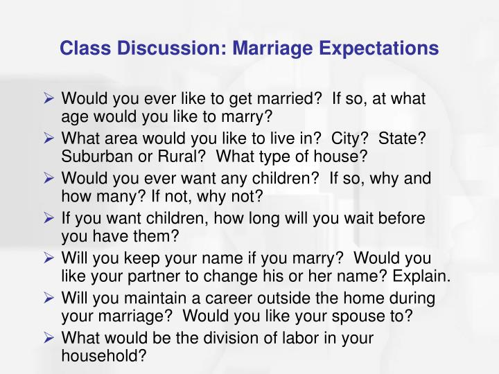 Class Discussion: Marriage Expectations