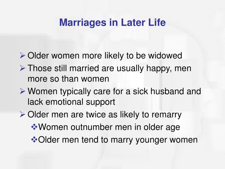 Marriages in Later Life