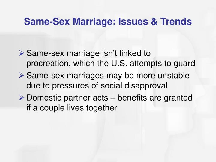 Same-Sex Marriage: Issues & Trends
