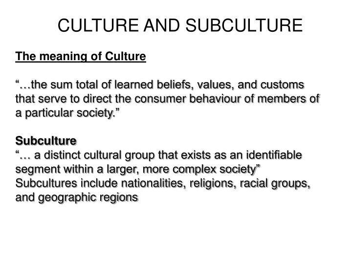 CULTURE AND SUBCULTURE