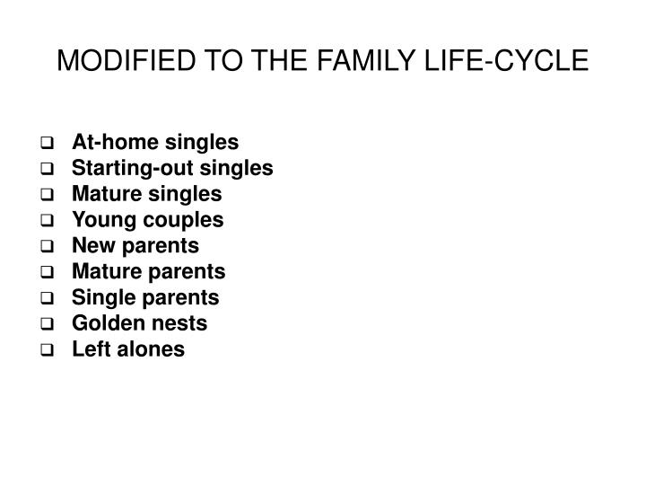 MODIFIED TO THE FAMILY LIFE-CYCLE