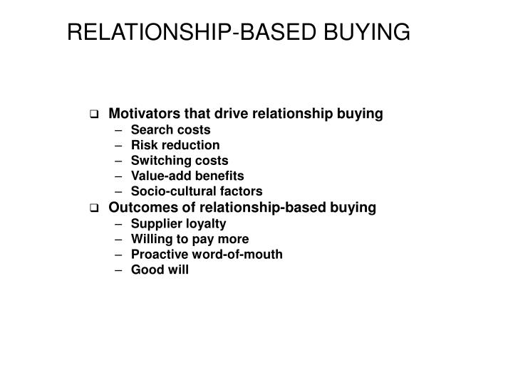 RELATIONSHIP-BASED BUYING