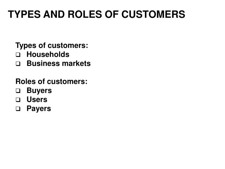 TYPES AND ROLES OF CUSTOMERS