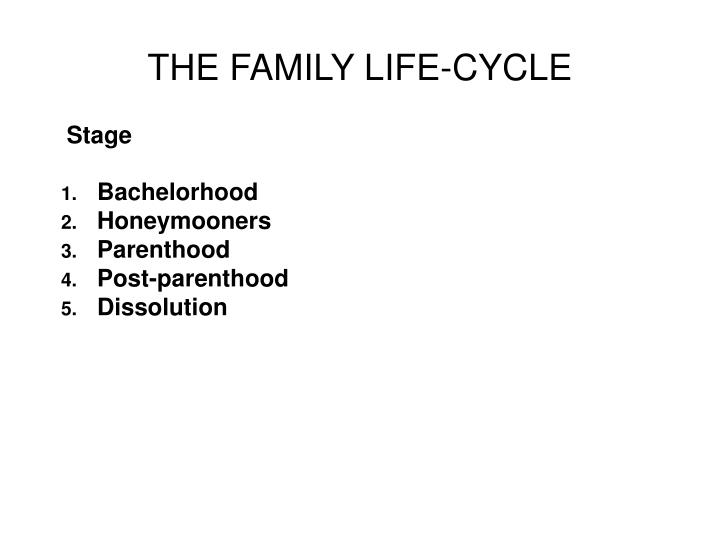 THE FAMILY LIFE-CYCLE