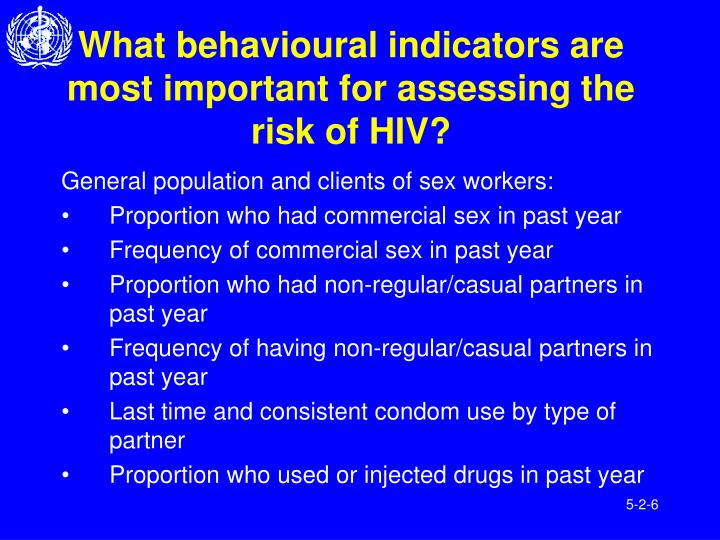 What behavioural indicators are most important for assessing the risk of HIV?
