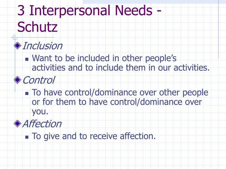 3 Interpersonal Needs - Schutz