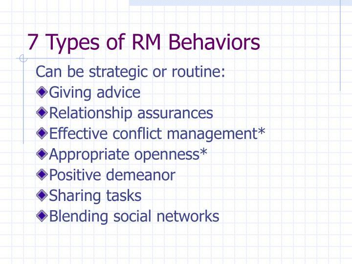 7 Types of RM Behaviors