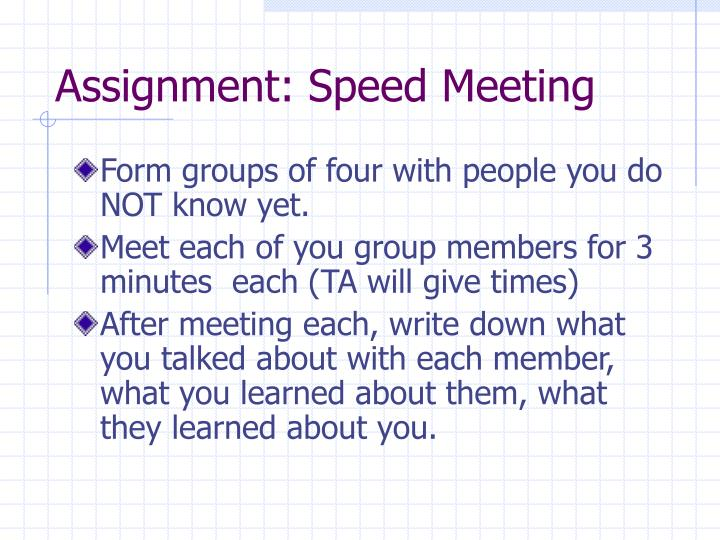 Assignment: Speed Meeting