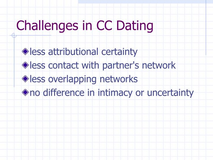 Challenges in CC Dating