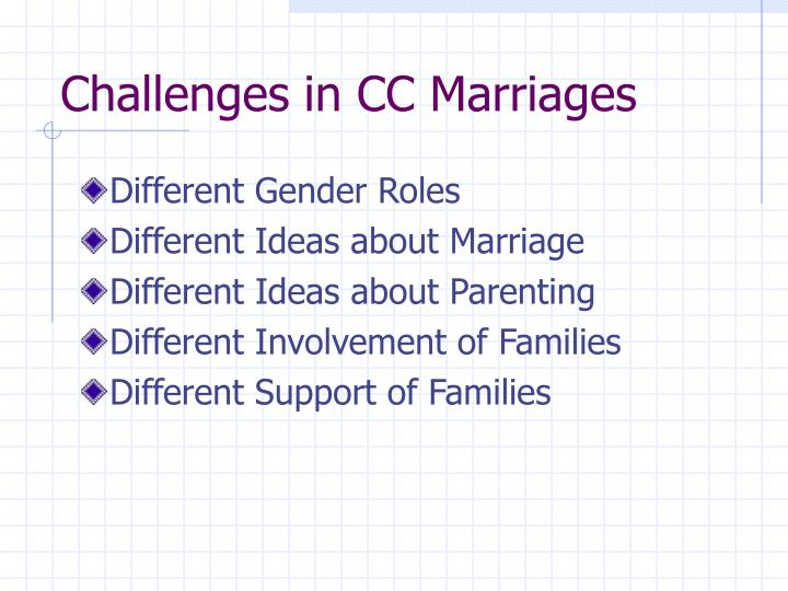 Challenges in CC Marriages