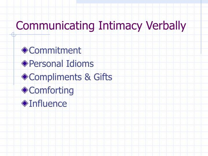 Communicating Intimacy Verbally