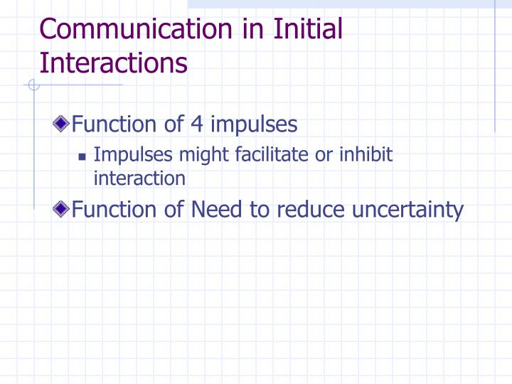 Communication in Initial Interactions